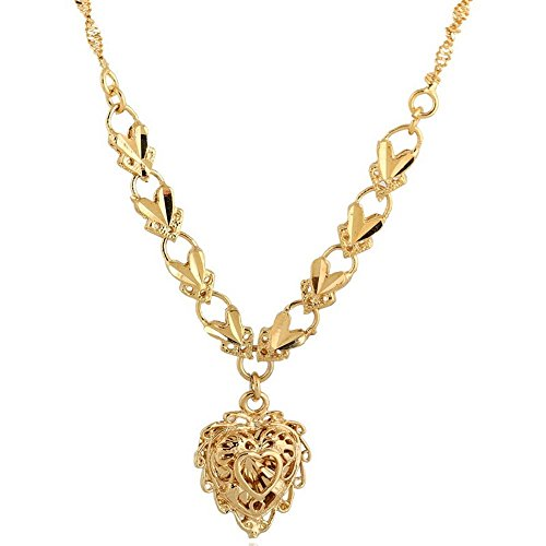 18K Yellow Gold Copper Hollow Link Chain Necklace Heart Pendant Jewelry