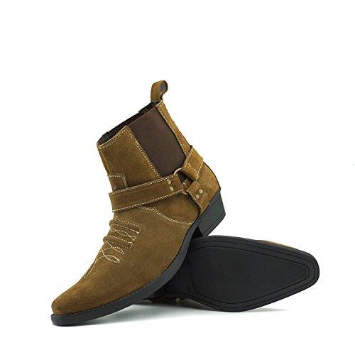 Kick Caviglia Stivali Western Pelle Cowboy Tan in Cubano Pelle Tirare Scamosciata Suede Tacco di Footwear Mens alla RwxqSXzFRr