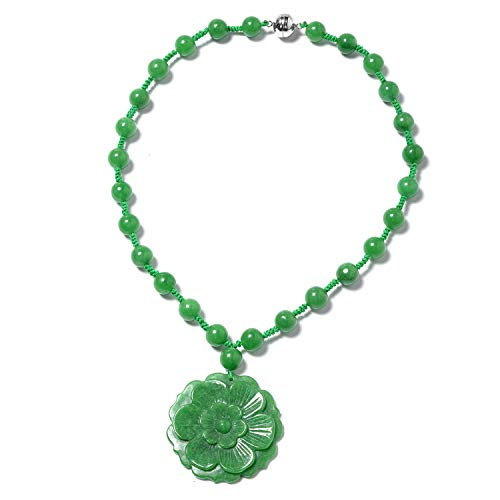 Green Jade 925 Sterling Silver Carved Flower Pendant with Beaded Necklace 18