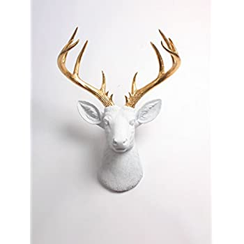 Amazon xl deer head wall hanging the xl alfred white and gold xl deer head wall hanging the xl alfred white and gold stag decor by white mozeypictures Gallery