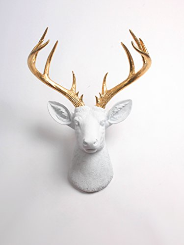 XL Deer Head Wall Hanging, The XL Alfred White and Gold Stag Decor by White faux Taxidermy Animal Heads Gold Deer