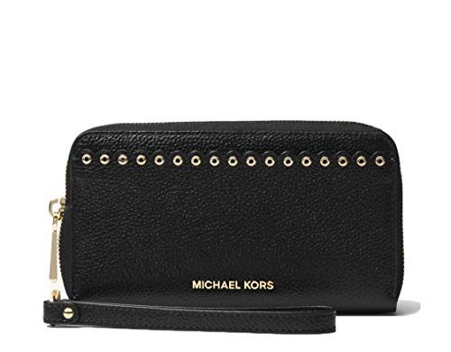 MICHAEL Michael Kors Large Scalloped Leather Smartphone Wristlet Black