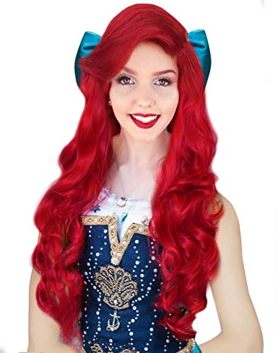 Little Mermaid Wig (Anogol Hair Cap +80cm Curly Wavy Red Wigs Women Fashion Lolita Cosplay)