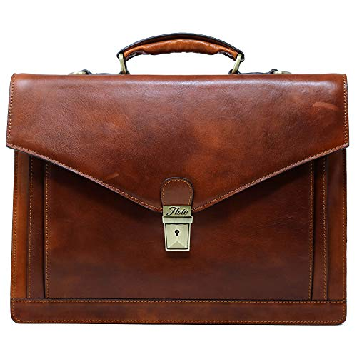 Calfskin Document - Floto Ponza Full Grain Leather Briefcase in Brown