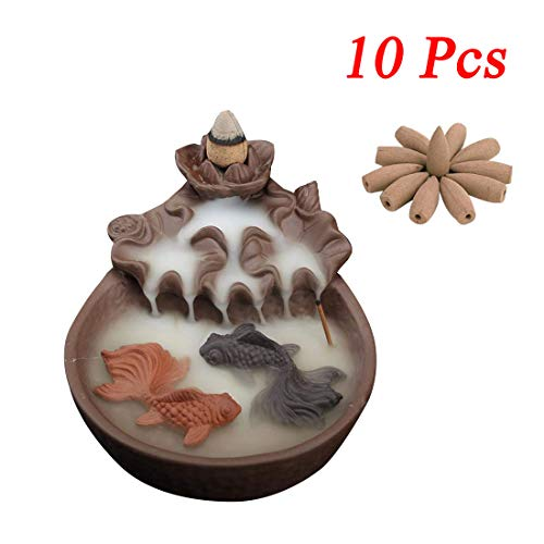 - Ceramic Waterfall Backflow Incense Burner Incenser Holder Home Decor Aromatherapy Ornament,Two Fishes Ceramic Purple Clay Smoke Backflow Incense Cone