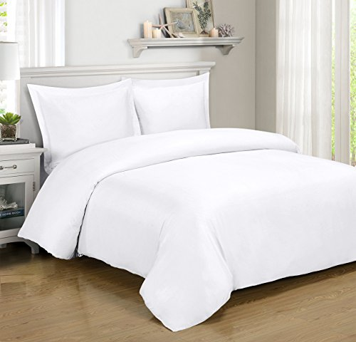 Royal Hotel Silky Soft Bamboo Cotton Hyrbid Duvet Covers, 3pc Duvet Cover Set, OVERSIZED Full/Queen, White