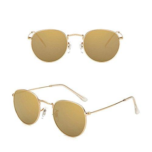 Fashion Retro Soleil Uv Hommes Gold Lunettes Intégrées Femmes De Shades qwPEEp