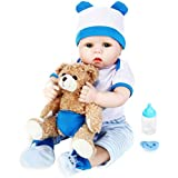 Aori Lifelike Realistic Reborn Baby Boy Doll 22 Inch Soft Silicone Weighted Reborn Baby with Bear Toy