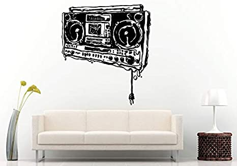 Wall Decals Cute Melting Dripping Boom Box Retro Old School Music Player A Track Cassette Tape Radio Speakers Wall Decal Vinyl Sticker Mural Room Decor Made In Usa Fast Delivery Home Kitchen