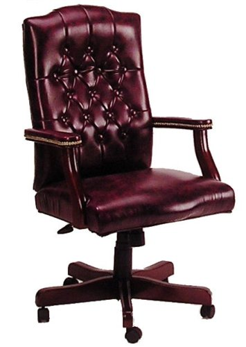 Boss Office Products B905-BY Classic Executive Caressoft Chair with Mahogany Finish in - Chair Mahogany High