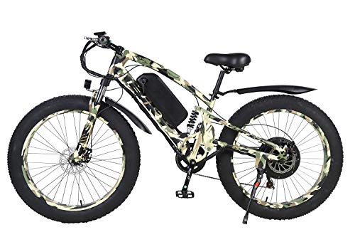 iBiky 26 Inch Electric Bike 1000W 60V/15AH Electric City Bicycle 7 Speeds Gear, Full Suspension Fat Tire Mountain Bike,LCD Display Lithium Battery (Military)