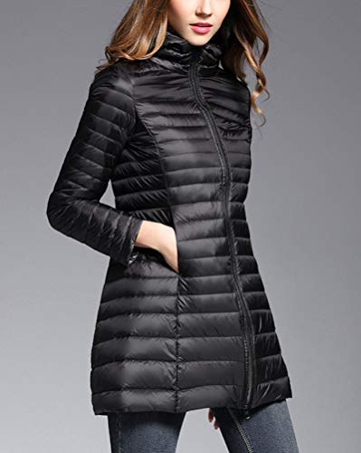 Down Packable Warm Suncaya Long Lightweight Black Hooded Jacket Sections Jackets Womens Down qn4wx4A