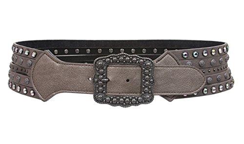 MONIQUE Women Western Contoured Rhinestone Studs Buckle Leather 67mm Wide Belt,Pewter M/L - 38