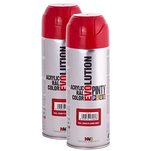 Fast Dry, Low Odor, Low VOC - Acrylic Spray Paint Pintyplus Evolution - Pack of 2 (Flame ()