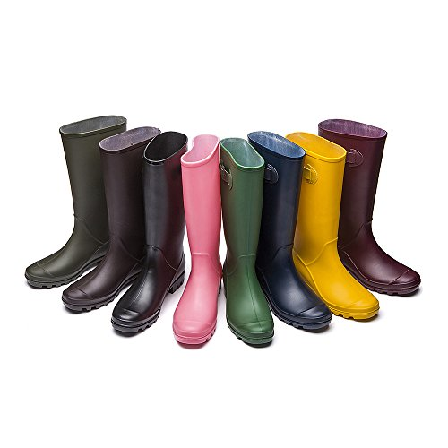 DKSUKO Rain Boots for Women Waterproof Wellies Wellington Boots (10 B (M) US, Black)