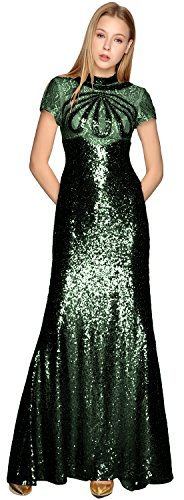 Sequin Formal Evening Dress Neck High Gown Prom Illusion Sleeves Short MACloth Dunkelgrun tBqwZRg