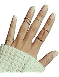 choice 6pcs stack rings leaf v rhinestone joint rings knuckle nail ring set u2026