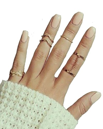 Cougar's Choice 6pcs Stack Rings Leaf V Rhinestone Joint Rings Knuckle Nail Ring Set