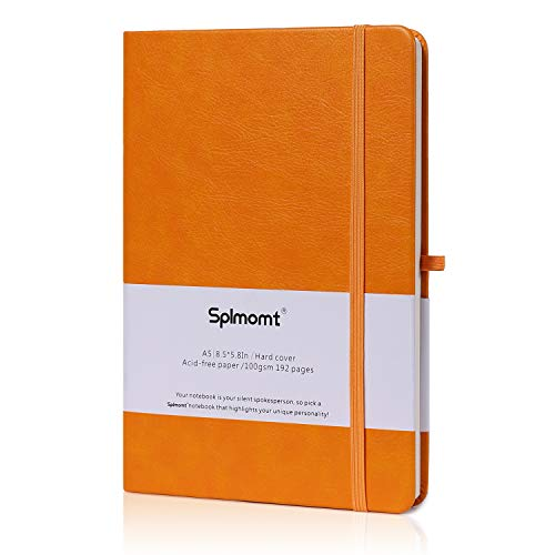 Splmomt A5 Hardcover Lined Notebook, 100GSM Writing Journal College Notebooks Ruled With Pen Loop, Inner Pocket, ElasticBand & Bookmarks, (Orange, Ruled) ()