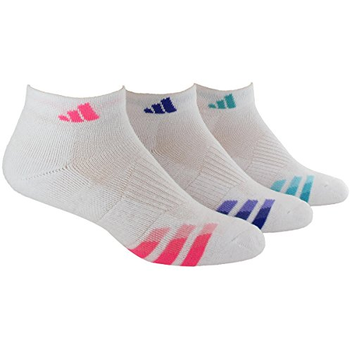 adidas Women's Cushioned 3pk Quarter Sock White/solar Pink/Night Flash Purple/Vivid Mint (Adidas Running Cushion)