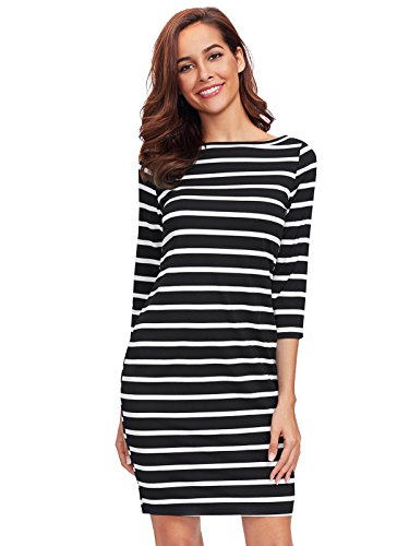 3/4 sleeve black and white dress - 3