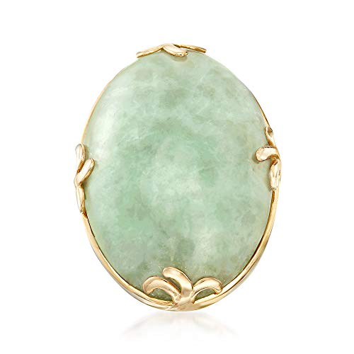 Ross-Simons Cabochon Jade Ring in 18kt Gold Over Sterling ()