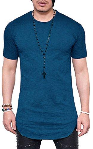 JOKHOO Mens Long Sleeve Hipster Hip Hop Basic Henley T Shirt for Men (2XL, Blue 1) by JOKHOO