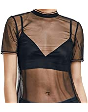 ZHER-LU Vrouw Zie Door Top, Mesh Shirt Sexy Korte mouw, Crop T-Shirt Perspective Hollow Out Blouse Tops Transparant Kant Party