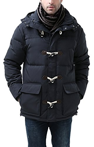 BGSD Men's Connor Hooded Waterproof Toggle Down Parka Coat - XL Navy (Best Winter Coats Canada Men)