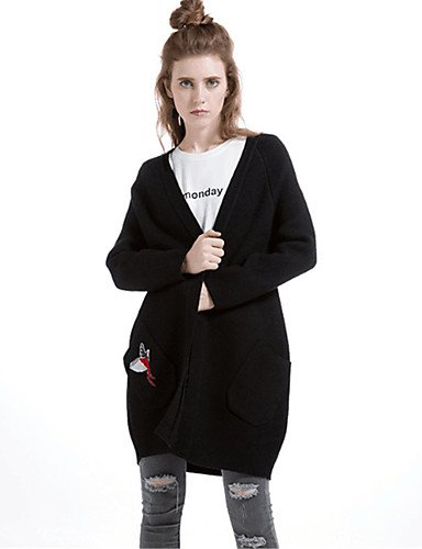 Thick Fall Xuanku Polyester Long elastic Daily Cotton Micro Neck V Black Women's Casual Sleeves Cardigan Solid Print Simple Long Winter Wool rrqgTF