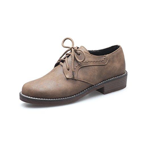 Cuero Zapatos Cordones Mujer Liso YORWOR Para Marrón de CZ7twOdq