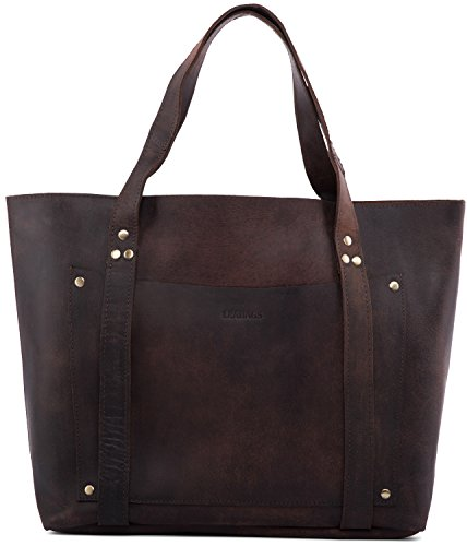 LEABAGS Odessa Hand Bag Genuine Buffalo Leather in Vintage Look - (Leather Usa Genuine Handbag)