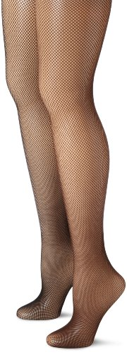 MUSIC LEGS Women's 2 Pack Spandex Seamless Fishnet Pantyhose, Black/Coffee, One (Lycra Fishnet Pantyhose)