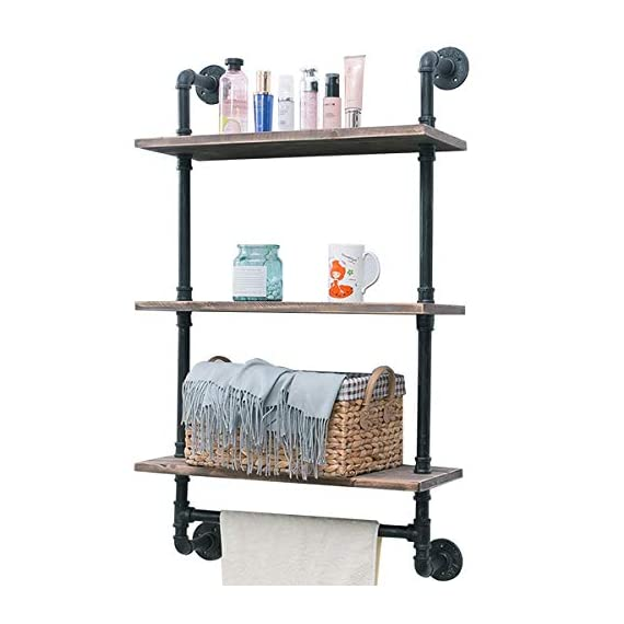 "Industrial Pipe Shelf,Rustic Wall Shelf with Towel Bar,24"" Towel Racks for Bathroom,3 Tiered Pipe Shelves Wood Shelf Shelving - 【Retro Style】:Iron pipes and reclaimed real wood composition in vintage style.Storage and decorations.It can also be used outdoors. 【Size】:Length24"" x Height41.73"" x Deep9.84"".Wood: Length24"" x Depth 9.84"" x Thickness 0.78''. 【Multi-functional】:The floating shelves are versatile, such as bathroom accessories, towel holder, bookcase, spice racks. - wall-shelves, living-room-furniture, living-room - 41R0Kh2vPVL. SS570  -"