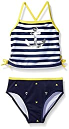 Nautica Sportswear Baby Girls\' Stripe Tankini with Silver Anchor Graphic Swimsuit, Navy, 24 Months