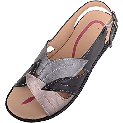 ABSOLUTE FOOTWEAR Womens Lightweight Low Wedge Summer/Holiday Sandal/Shoes - Black - US 5