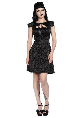Vestido negro, sin mangas, diseño elegante y camé aristocrate diseño de cruz gótica negro