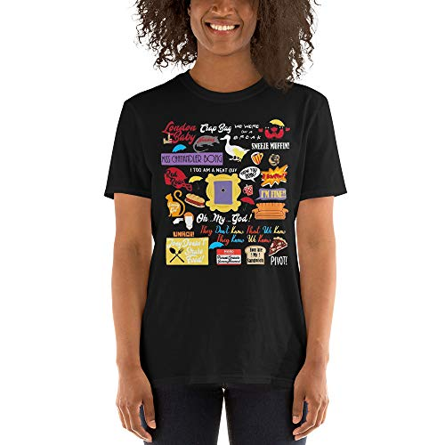 Friends TV Series Quotes Collage Cliparts Unisex Tee for Fan ()