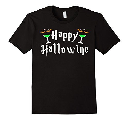 Mens Happy Hallowine: Halloween Cute Simple T-Shirt Small (Simple Halloween Drinks Alcohol)