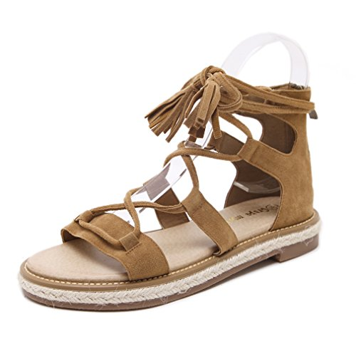 [XINXIKEJI]レディース 編み上げ サンダル パンプス 2.5cmヒール ローヒール ファスナー付き 履きやすい 歩きやすい 疲れにくい 滑りにくい フォーマル パーティー 宴会 美脚 オシャレ黒/ブラウン
