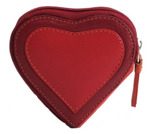 Visconti Capri RB59 Multi Colored Heart Shaped Ladies/ Girls Leather Coin Purse Key Wallet With Key Chain (Red) (Heart Girl Wallet)