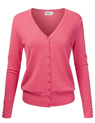 Coral Cardigan Sweater (NINEXIS Womens Basic V-Neck Long Sleeve Button Down Cardigan Sweater CORAL XL)