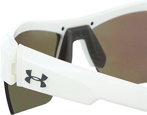 Under Armour Igniter Multireflection Rectangular Sunglasses, Shiny White Frame/Blue Lens, one size