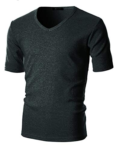 GIVON Mens Slim Fit Flice Cotton Long Sleeve Lightweight Thermal V-Neck T-Shirt /DCP063-CHARCOAL-M