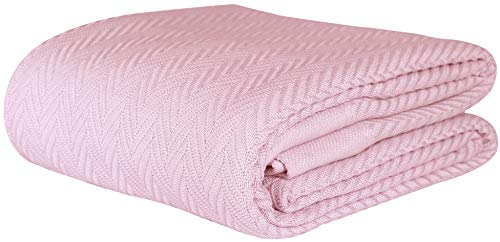 Threadmill Home Linen Herringbone Soft Breathable 100% Cotton Blanket Full/Queen Size English Rose (All Weather Drapes)