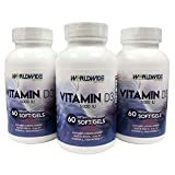Worldwide Nutrition Vitamin D3 5000 IU Supplement, 60 Softgels For Sale