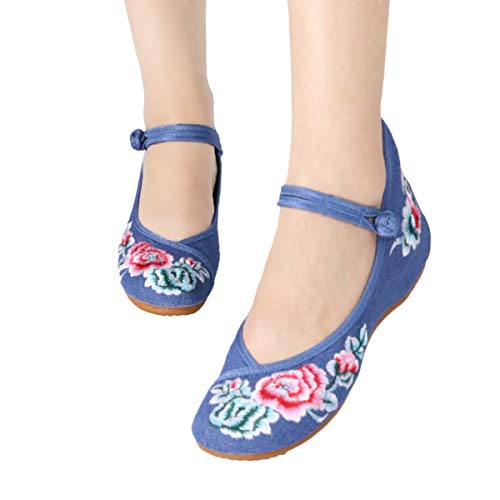 Embroidered Mary Jane - CINAK Floral Embroidered Shoes for Women- Comfortable Loafer Black Casual Round Toe Ballet Flats Shoes(6.5-7 B(M) US/UK4.5-5/EU37/CN38/24CM,Blue)