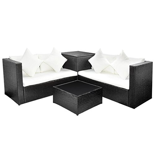 vidaXL Black Poly Rattan Lounge Set with Storage Chest (Patio Storage Chest compare prices)