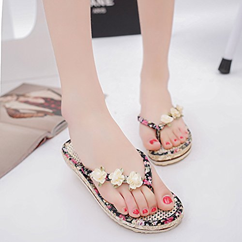 YOUJIA Women Summer Beach Sandals Chic Bohemia Flowers Thong Flip-Flop Flats Slippers Black mW0HQmG6