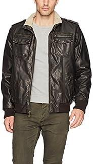 Tommy Hilfiger Mens Vintage Deer Sherpa Aviator Bomber Jacket Faux Leather Jackets